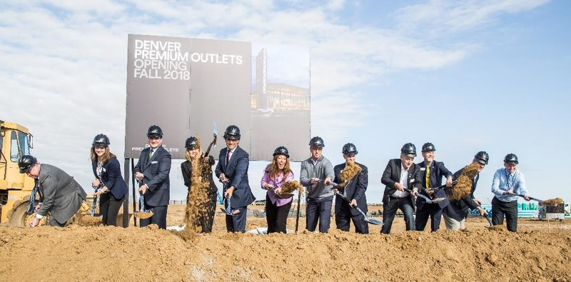 Local officials and executives from Simon break ground for Denver Premium Outlets on October 5, 2017.