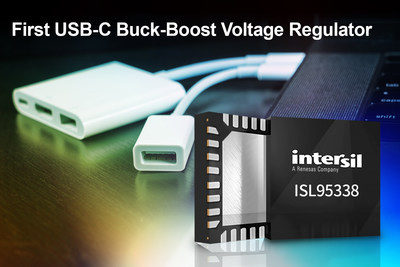 Intersil's single-chip ISL95338 USB-C buck-boost voltage regulator replaces two converters, enables USB PD3.0 bidirectional voltage regulation for tablets, ultrabooks, power banks and other mobile devices.