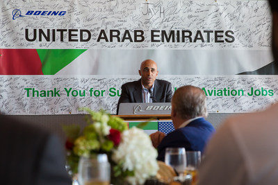 Ambassador Yousef Al Otaiba delivers remarks to employees and community leaders at Boeing in Charleston, South Carolina