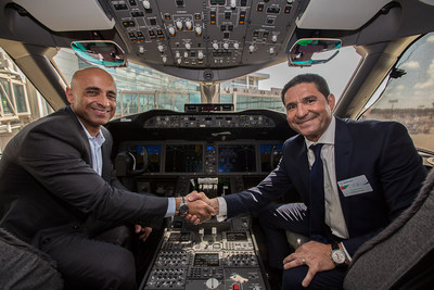 Ambassador Yousef Al Otaiba on the flight deck of test 787-10 at Boeing in Charleston, South Carolina