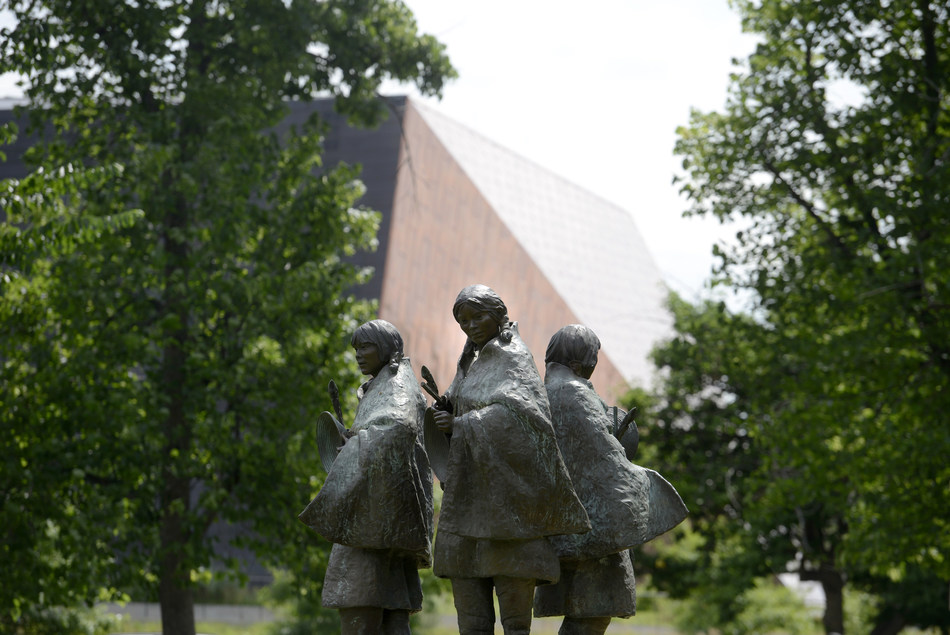 The assets of the Colorado Springs Fine Arts Center will transfer to Colorado College as a gift valued at more than $175 million, making it the largest gift in the college's history and the second largest gift received by a liberal arts college. Shown in the foreground is an FAC sculpture by Colorado College alumna Glenna Goodacre, with CC's Cornerstone Arts Center in the background.