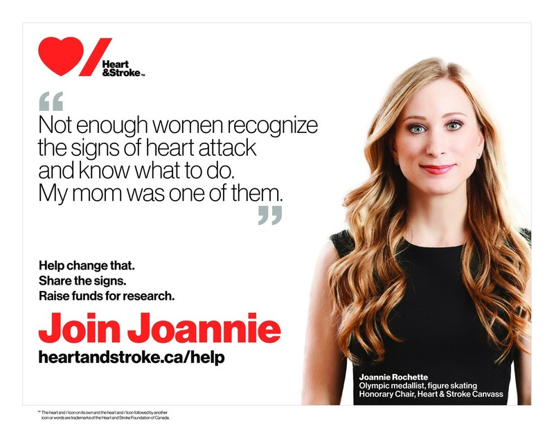 Not enough women recognize the signs of heart attack and know what to do. My mom was one of them. Joannie Rochette (CNW Group/Heart and Stroke Foundation)