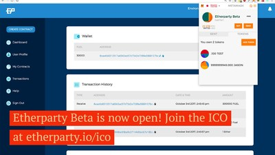 Etherparty Beta Goes Live with 3 Real World Use Cases (CNW Group/Etherparty)