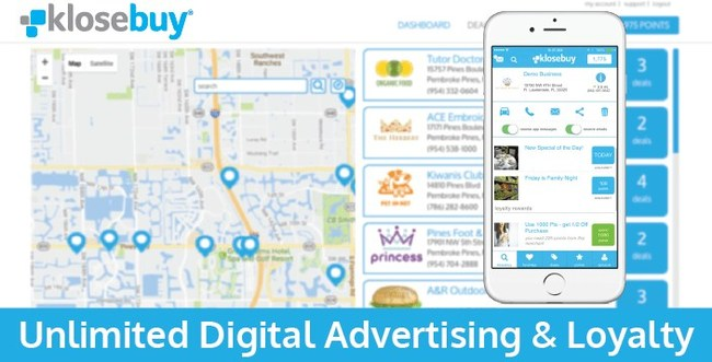 Businesses who subscribe to Klosebuy have their business geo-located, auto-build a customer database, receive instant analytics on their advertisements, engage customers through push messages and emails, create loyalty rewards, and much more. All for only $19.95 per month.