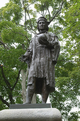 The statue of Columbus in Wooster Square, New Haven, Conn.