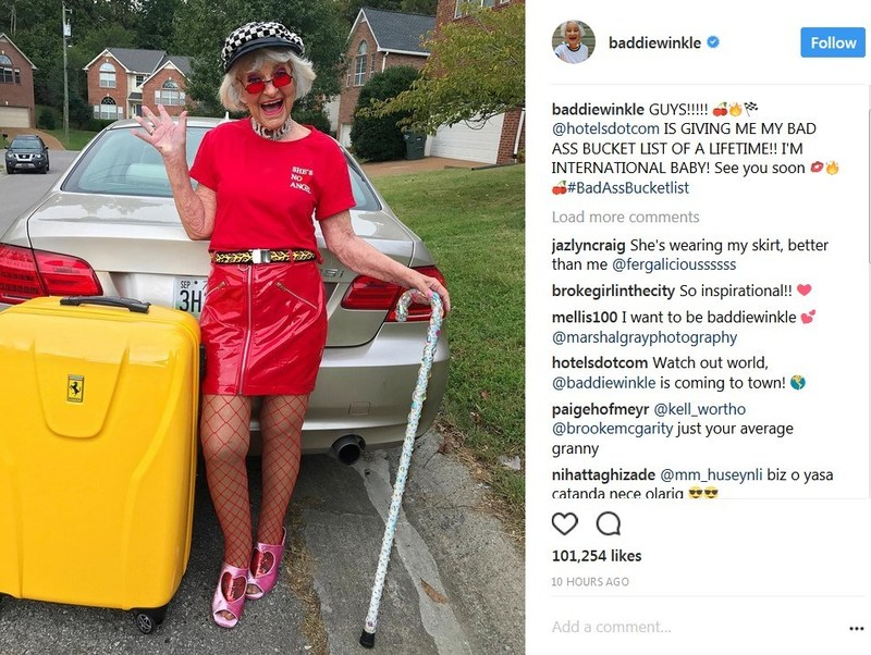Instagram's hottest Grandma, Baddie Winkle, launched her #BadAssBucketList on Instagram to her loyal followers. (CNW Group/Hotels.com)