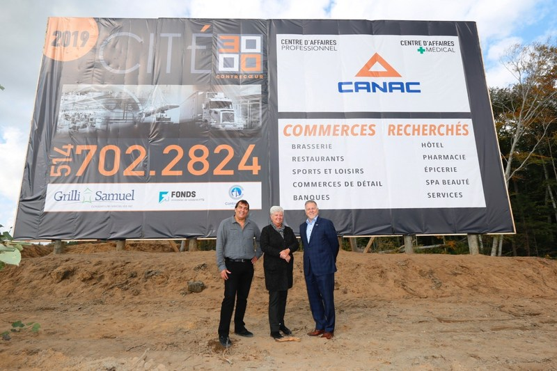 Yves Samuel (Grilli Samuel Consortium Immobilier), la mairesse Suzanne Dansereau (Ville de Contrecoeur), et Guy Poulin (Fonds immobilier de solidarité FTQ) - (Louis-Étienne Doré, photographe) (Groupe CNW/Fonds de solidarité FTQ)