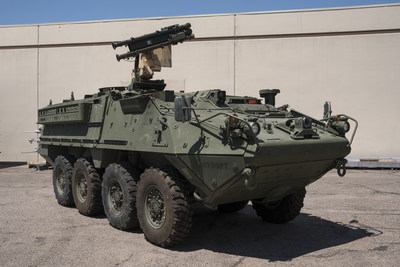 Raytheon adapted the Stinger missile's air-to-air launch system to fire from a Stryker armored vehicle for a U.S. Army demonstration in September 2017.