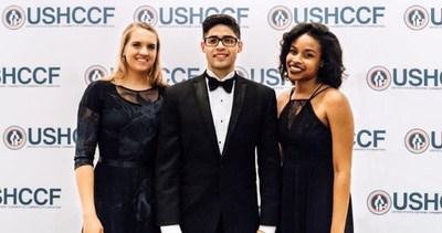 From left: Scholarship winners Jennyfer Register, Allan Castellon-Perez and Ebone Ross