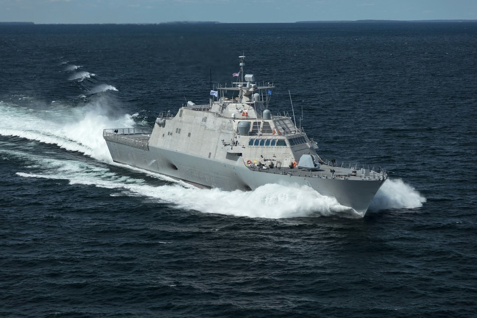 The future USS Little Rock (LCS 9), the fifth Freedom-variant LCS delivered to the U.S. Navy, underway during Acceptance Trials in Lake Michigan on August 25, 2017.