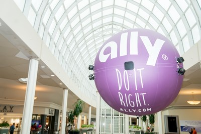 Ally Bank's custom-made drone flies through Carolina Place to deliver free phone chargers to shoppers