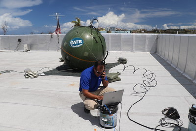 Victor Vega, director of emerging products, operates GATR antenna system.