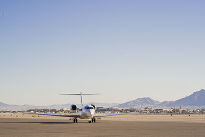 The Gulfstream G650ER lands in Las Vegas after setting five speed records.