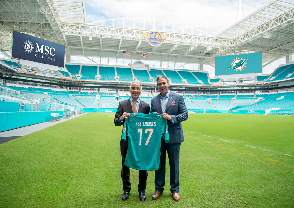 From left: Roberto Fusaro, president, MSC Cruises; Todd Kline, senior vice president, chief commercial officer, Miami Dolphins. MSC Cruises' three-year partnership with The Miami Dolphins will offer fans the opportunity to tailgate with fun activities at all Miami Dolphins home games at Hard Rock Stadium, rally the stadium with MSC Cruises before the fourth quarter and sail on an official Dolphins Fan Cruise.
