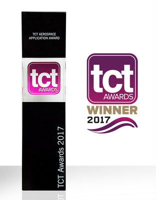 The TCT Aerospace Application Award trophy won by Sciaky, Inc. for its industry-leading EBAM metal 3D printing technology.