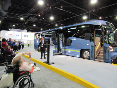 MCI President Ian Smart unveils a breakthrough in commuter rider ADA accessibility with the all new D45 CRT LE for public transit systems