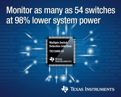 Texas Instruments today introduced two multi-switch detection interface (MSDI) devices that consume up to 98 percent less system power than conventional discrete solutions.