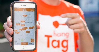 The new hangTag parking app deployed at Impark locations allows users to search for parking locations on a map, and buy a parking session. (CNW Group/Impark)