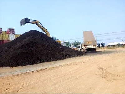 Manganese product stockpile at Porto Velho warehouse (CNW Group/Meridian Mining S.E.)