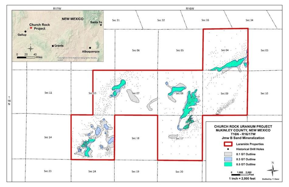 Figure 2: GT Contour Map of the Jmw B Sand Mineralization (CNW Group/Laramide Resources Ltd.)