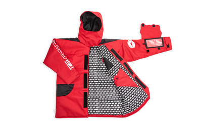 """To mark the arrival of the new hot delivery system, Pizza Hut has designed a limited-edition """"Pizza Parka,"""" made from the same materials used in the delivery pouch, plus pizza-inspired features, like: a weather-resistant outer crust, easy order window to allow users to order pizza from the sleeve, napkin gaiter and dual parmesan and red pepper pockets."""