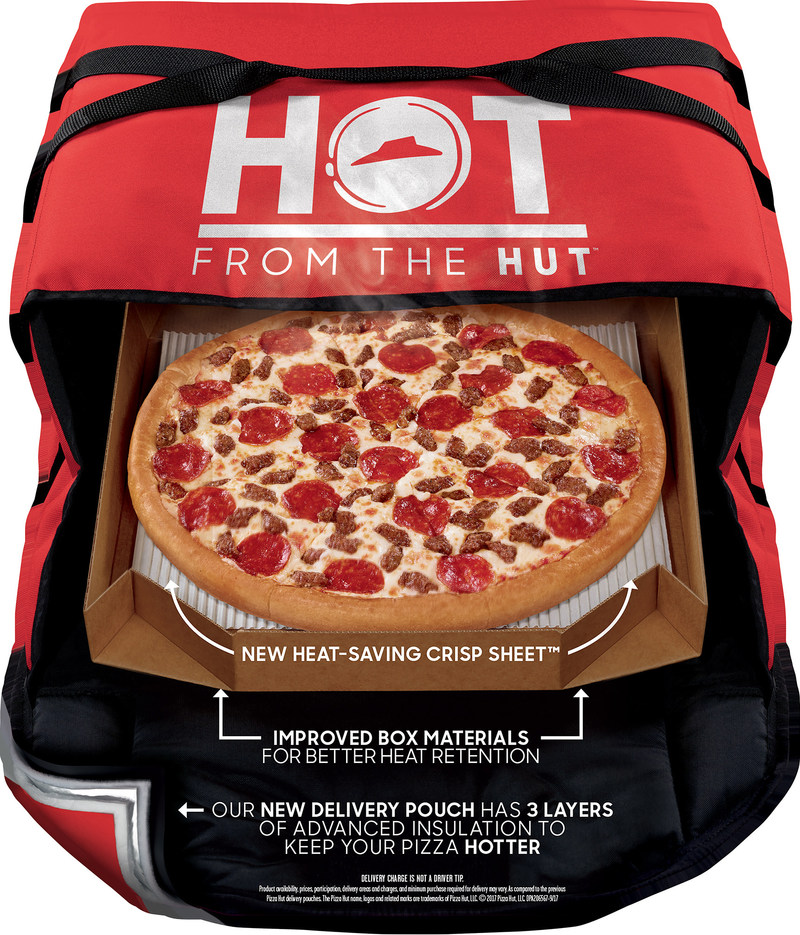 """Pizza Hut's """"oven hot delivery system,"""" features an all-new delivery pouch with three layers of insulation similar to those used in winter jackets, space blankets, and in your home. The pouch, a re-engineered pizza box and crisp sheet insert increase pizza temperatures during delivery up to 15 degrees."""