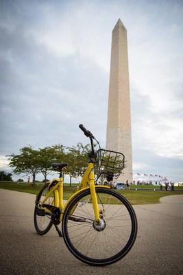 Modelo mais moderno de bicicleta da ofo retratado em Washington, D.C.