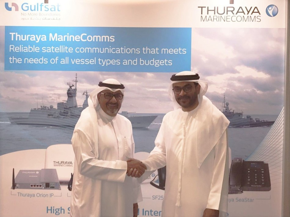 Fahad Kahoor ( Thuraya Director of Market Development) and Mohammad AL- Haj (Gulfsat Chairman and CEO) during the signing of the agreement at OPV Middle East (PRNewsfoto/Thuraya Telecommunications)