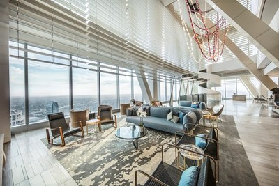 The InterContinental Los Angeles Downtown Hotel's lobby makes for the city's first sky lobby. Located on the 70th floor, guests are welcome to absorb spectacular metropolitan views and enjoy a new perspective of the city as they check-in.