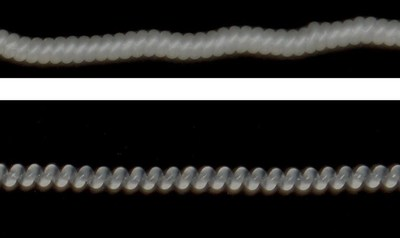 Appearance of artificial muscles based on ultra-high molecular  polyethylene fibers  (before and after heat treatment) (PRNewsfoto/NUST MISIS)