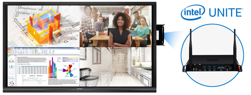 By combining the Intel Unite® application with ViewSonic® ViewBoard®, co-workers can simply walk into a conference room and immediately begin to wirelessly share their screen content to the ViewBoard®. Users can also easily manage every aspect of the UC experience – from digital collaboration and video conferencing to room lighting controls or hardware management. (CNW Group/ViewSonic)