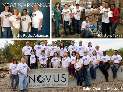 Novus International employees from Saint Charles, Houston and Little Rock joined forces to raise over $20,000 in donations for disaster relief after Hurricane Harvey.