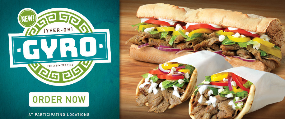 Quiznos offers free gyro flatbread with purchase on Oct. 25 and introduces three new modern gyro options for a limited time
