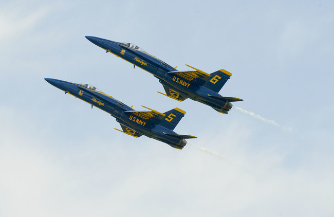 No. 5 Solo Aircraft and No. 6 Opposing Solo Aircraft for the U.S. Navy Blue Angels fly in close formation. GA Natives Solo Pilot Frank Weisser and Opposing Solo Pilot Tyler Davies will participate in the 2017 air show in Rome, GA.