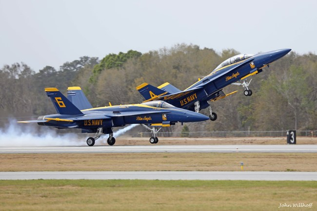 The solo pilots for th U.S. Navy Blue Angels take-off to perform earlier this year for their flight demonstration in Brunswick, GA. The Wings Over North Georgia Air Show in Rome, GA will host the Blue Angels Demonstration Team on Oct. 21-22, 2017.