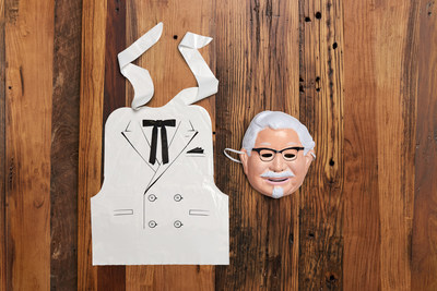 The Colonel Sanders costume kit features a vacuum-molded plastic mask resembling him and a vinyl bib designed to look like the his trademark suit, making it easy and affordable for anyone to dress up as the Colonel for Halloween.