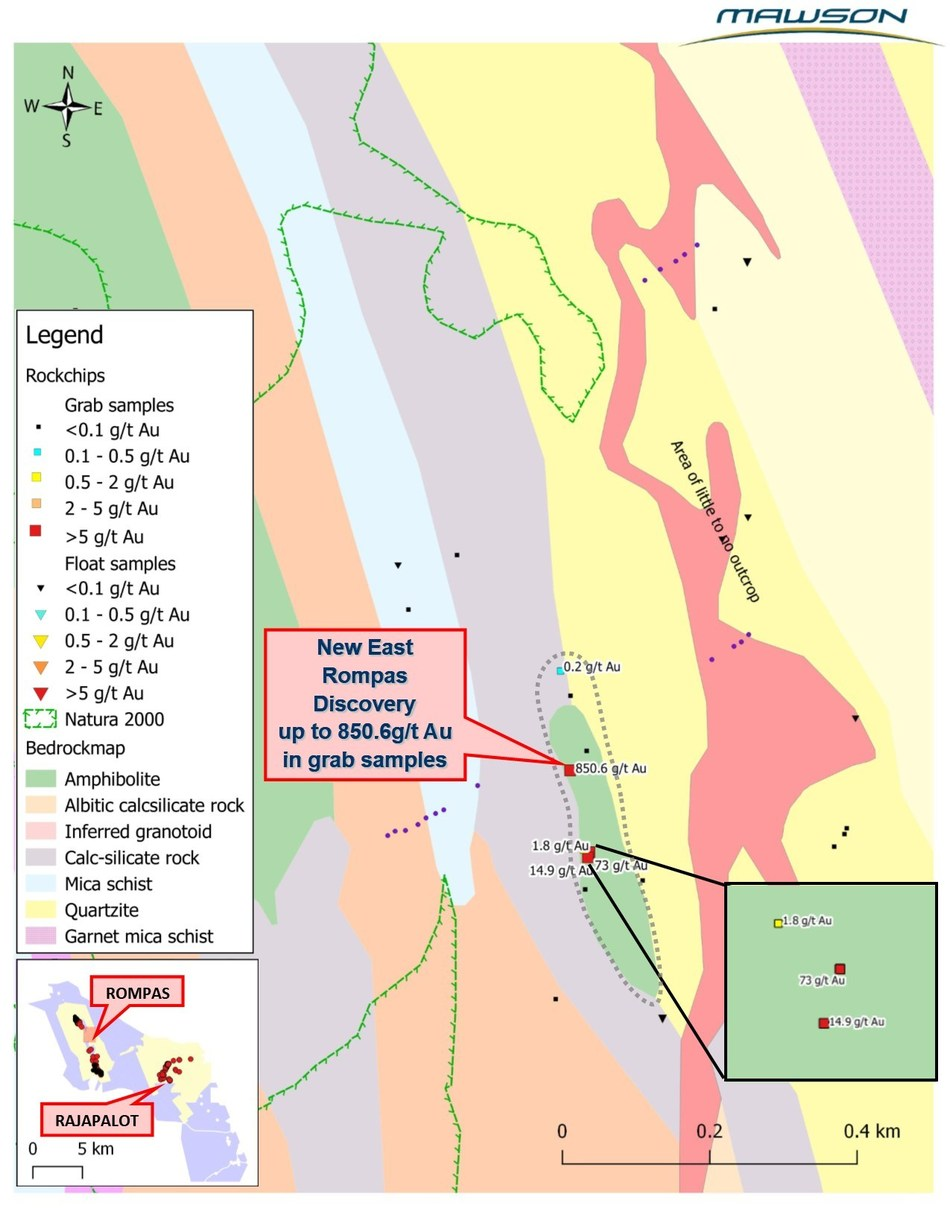 Figure 2: The East Rompas mineralization trend with location of grab sample and gold assays. (CNW Group/Mawson Resources Ltd.)