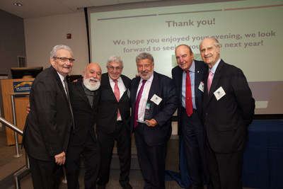 From left are Dr. Allen Finkelstein and Dr. Jack Dillenberg, Dr. Edward B. Shils Entrepreneurial Fund board members; Stanley M. Bergman, Chairman of the Board and CEO of Henry Schein, Inc.; Steve Kess, Cohen-Volpe Award winner; and the award's namesakes, Dr. D. Walter Cohen and Dr. Tony Volpe.