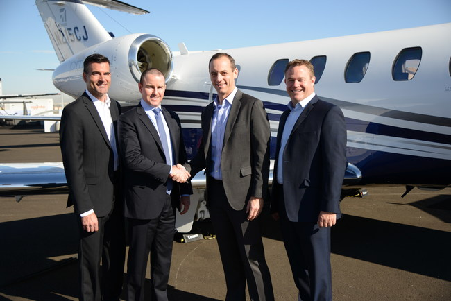 Executives from OneJet and Textron Aviation in front of Cessna Citation CJ4. OneJet will add the aircraft to its fleet in 2018. From left to right: John Blatchley, Regional Sales Director, Textron Aviation; Matthew Maguire, CEO, OneJet; Rob Scholl, SVP of Sales & Marketing, Textron Aviation; and Steve Schatzman, VP of Pre-Owned Aircraft, Textron Aviation.