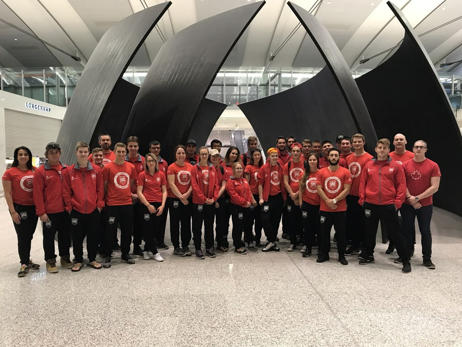 WorldSkills Team Canada 2017 is on their way to the 44th WorldSkills Competition, in Abu Dhabi. (CNW Group/Skills/Compétences Canada)