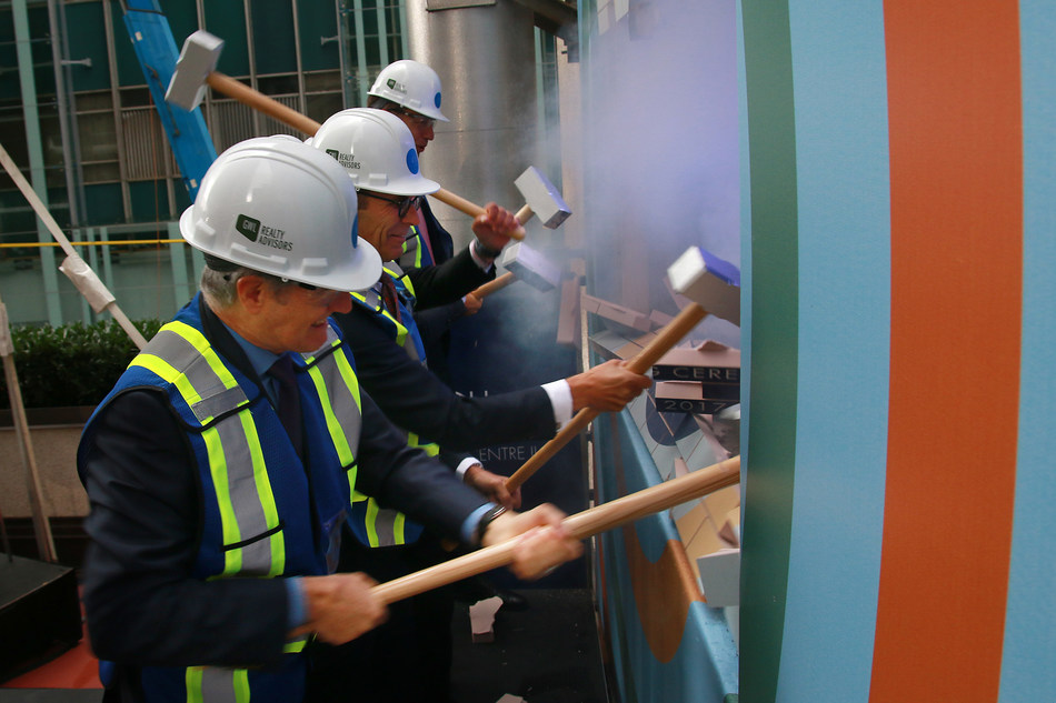GWL Realty Advisors officially begin construction of Vancouver Centre II. Left-right: James Midwinter, GWL Realty Advisors; Paul Finkbeiner, GWL Realty Advisors; Nick MacRae, Healthcare of Ontario Pension Plan. (CNW Group/GWL Realty Advisors)