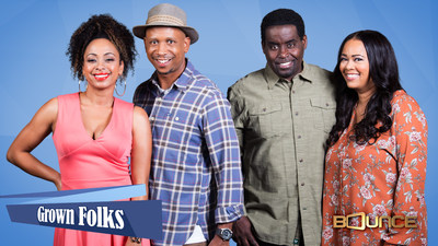 Bounce (@BounceTV) premieres new episodes of the hit comedy Grown Folks Monday nights at 9:30 p.m. ET/PT. Grown Folks is about two blue-collar couples who share a duplex while navigating life, marriage and friendship, in Honeymooners-esque fashion. The series stars Gary ?G Thang Johnson as a frugal skycap for an international airline, Tracey Cherelle Jones as his wife Jillian, a pragmatic social worker, Jay Phillips as zany plumber James and Caryn Ward Ross as Jays stay-at-home wife Brenda. Vi