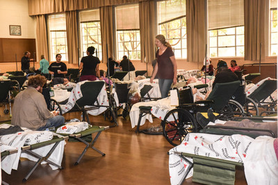 One room of the Red Cross Shelter at the Veteran's Hall in Santa Rosa has been set up for people with a variety of needs that had been evacuated from a nearby long-term care facility. Photo credit: Virginia Becker for the American Red Cross