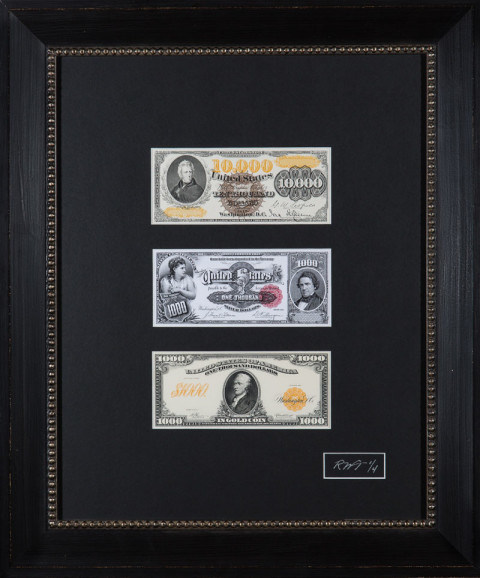 The front of an 1882 $10,000 Gold Certificate. The front of an 1891 $1,000 Silver Certificate. The front of a 1907 $1,000 Gold Certificate.