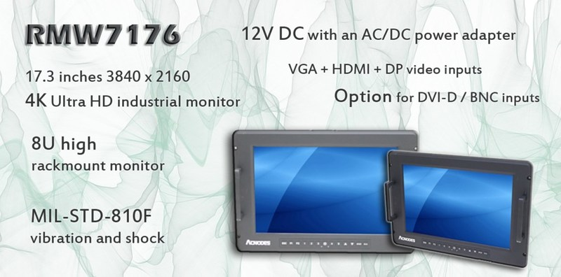 "RMW7176 - 17.3"" 8U High Rack Mount Monitor with 4K Display"
