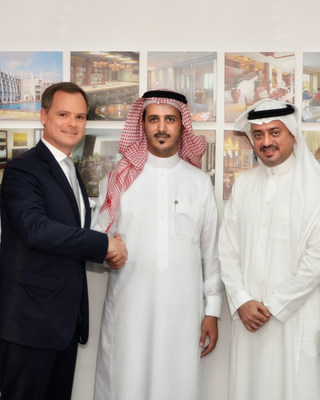 Ignace Bauwens, Regional Vice President Middle East and Africa at Wyndham Hotel Group is pictured alongside Abdullah Abdulrahman Z ALFAWAZ, General Manager at Concept Towers Real Estate and Muhammad Al Amir, Managing Director of Riyada International Hotels & Resorts