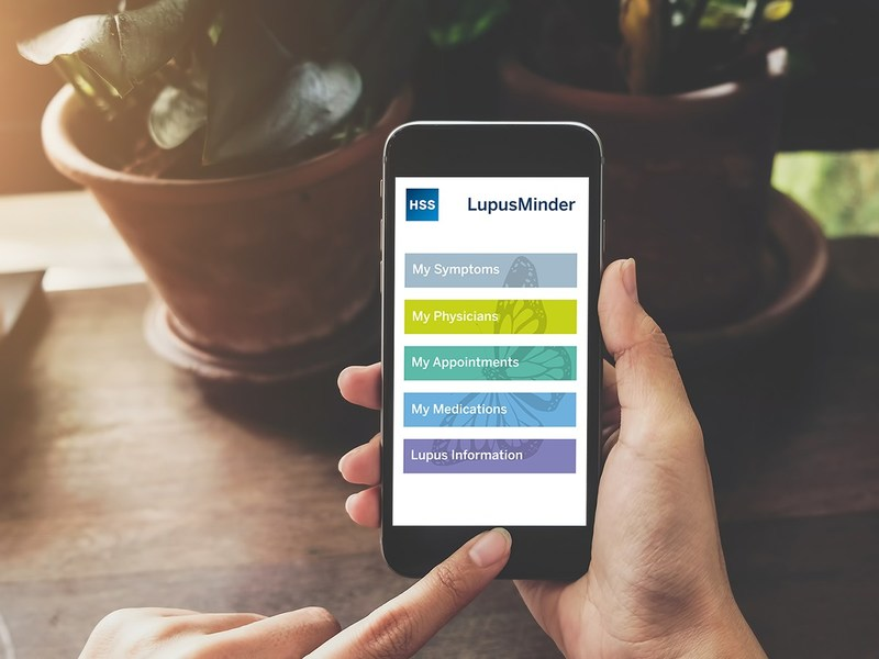 LupusMinder is a new mobile app developed by HSS that is designed to track medications, daily symptoms and appointments.
