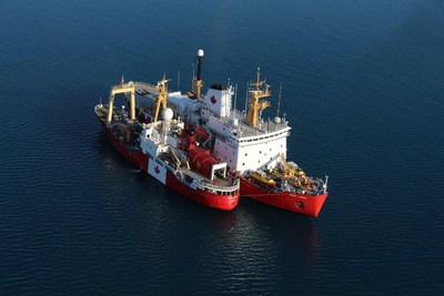 CCGS Henry Larsen and C3 Expedition vessel Polar Prince meet in Erebus and Terror Bay in late August. Crews and passengers exchanged information about Arctic navigation, vessel operations and more. (CNW Group/Fisheries and Oceans Central & Arctic Region)