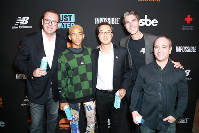 Chief Brand Officer at sbe Michele Caniato, actor Jaden Smith, COO of Impossible Foods David Lee, CEO of sbe's Disruptive Restaurant Group and Umami Burger Daniel del Olmo and Umami Burger COO Gregg Frazer attend the Umami Burger x Jaden Smith Artist Series Launch Event at The Grove on October 11, 2017 in Los Angeles, California