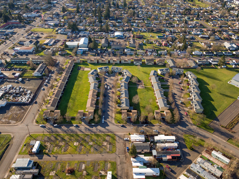 Aerial view of Evergreen Townhomes, Springfield, Oregon.